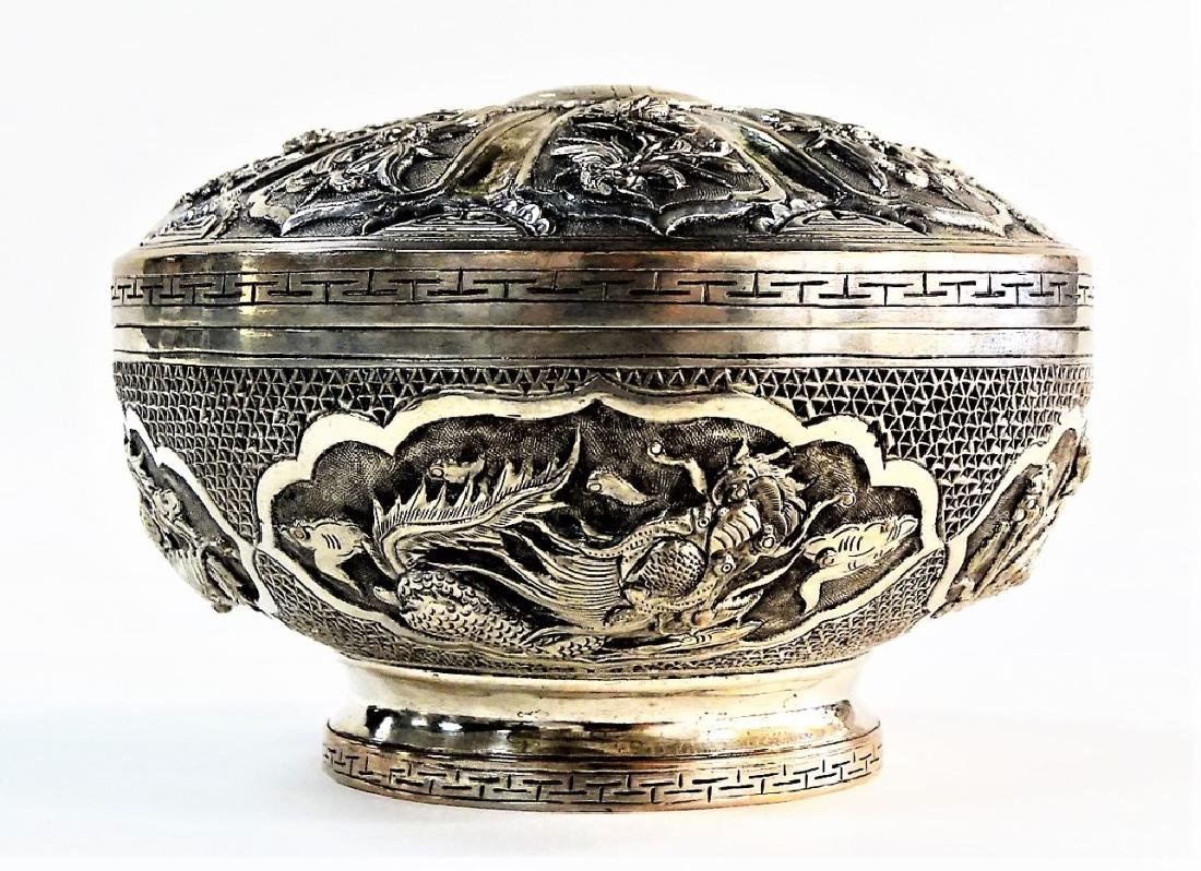 ANTIQUE ROUND CHINESE SILVER FOOTED BOX W/ COVER