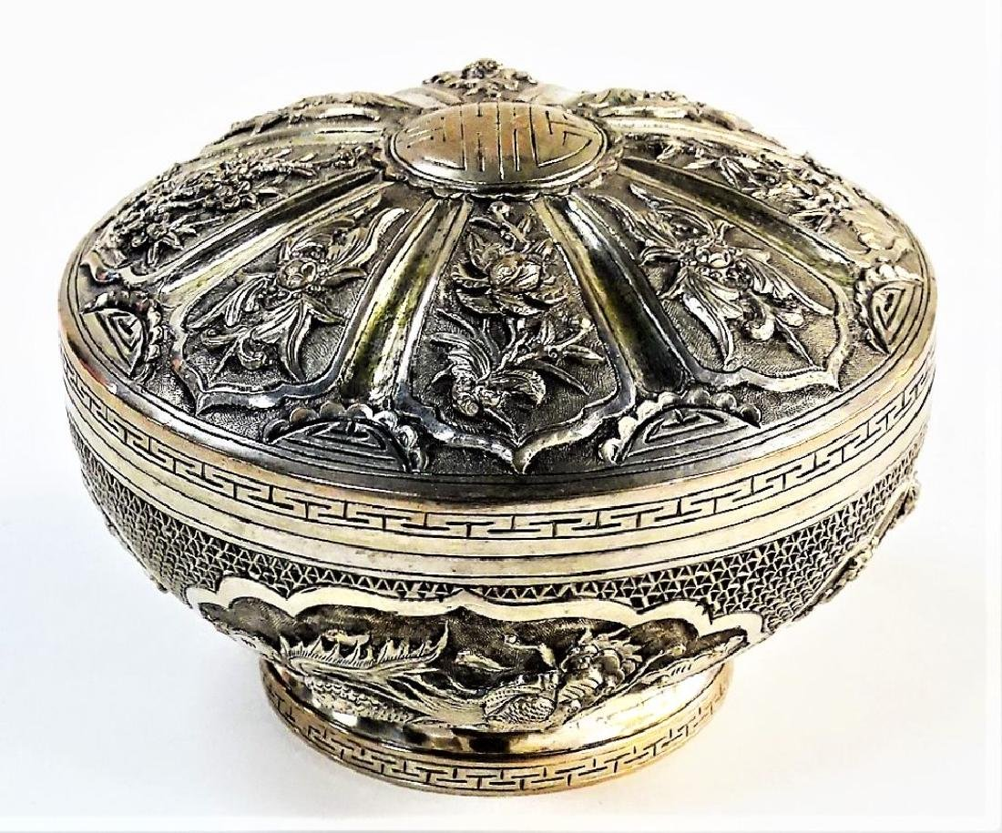 ANTIQUE ROUND CHINESE SILVER FOOTED BOX W/ COVER - 2