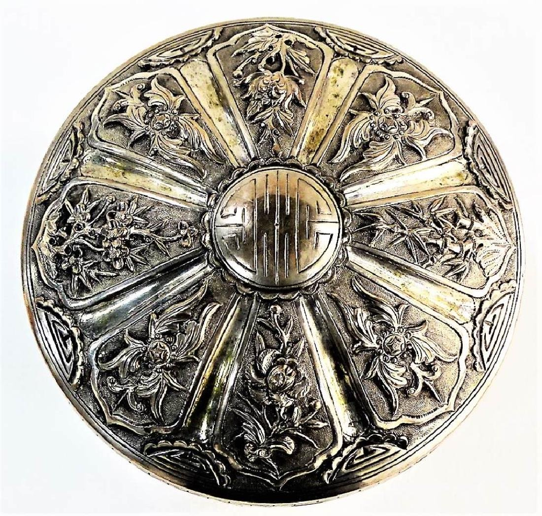 ANTIQUE ROUND CHINESE SILVER FOOTED BOX W/ COVER - 3