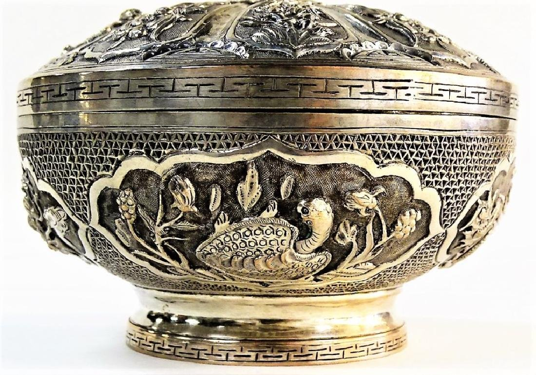 ANTIQUE ROUND CHINESE SILVER FOOTED BOX W/ COVER - 4