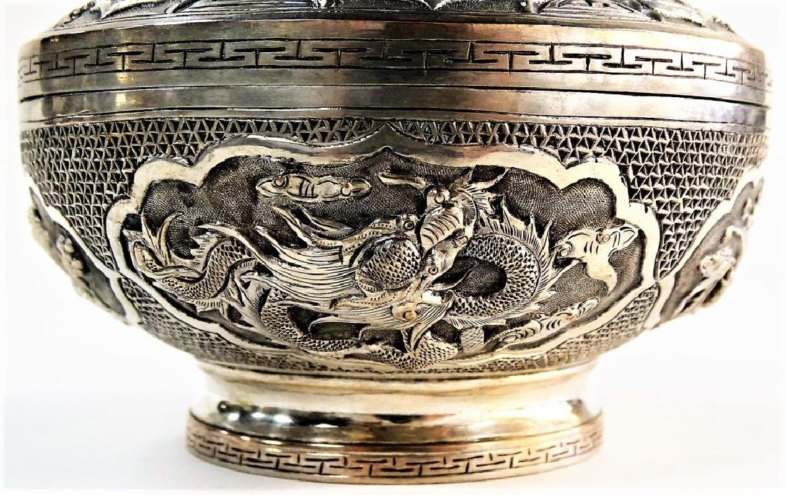 ANTIQUE ROUND CHINESE SILVER FOOTED BOX W/ COVER - 5