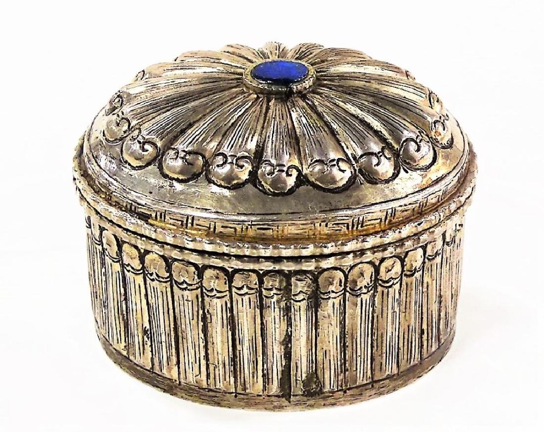 ANTIQUE CHINESE OVAL SILVER DRESSER BOX WITH LAPIS