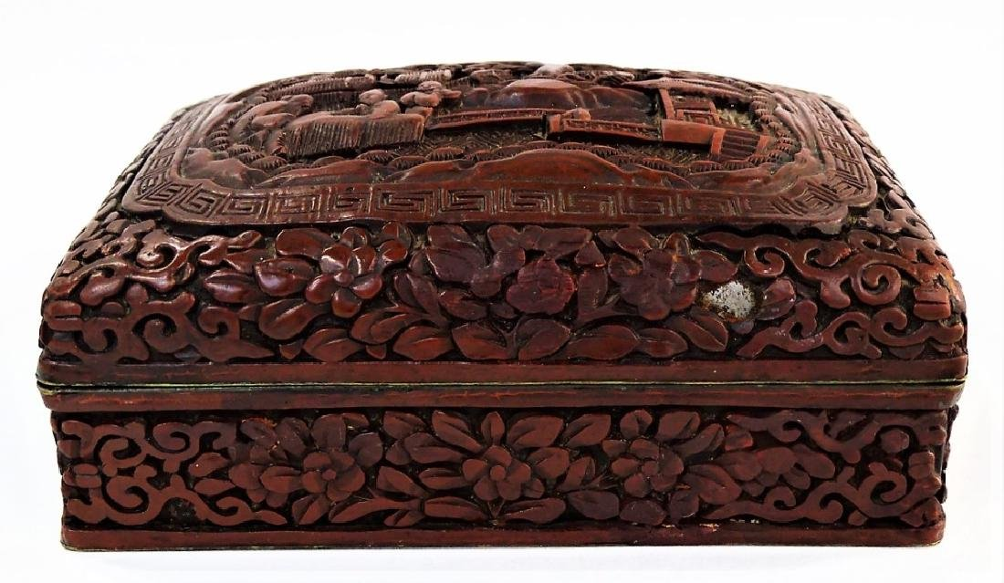 ANTIQUE CHINESE CARVED CINNABAR LIDDED DRESSER BOX - 2
