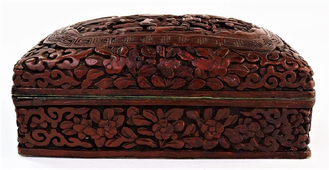 ANTIQUE CHINESE CARVED CINNABAR LIDDED DRESSER BOX - 4