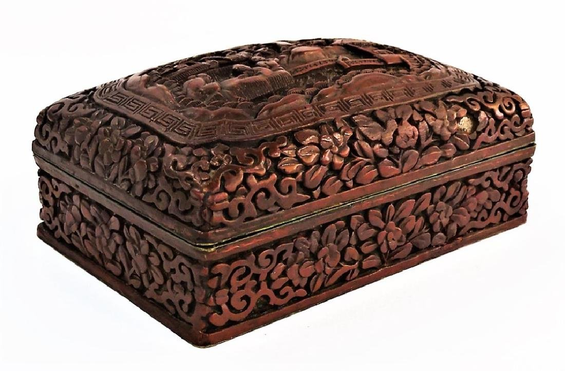 ANTIQUE CHINESE CARVED CINNABAR LIDDED DRESSER BOX - 5