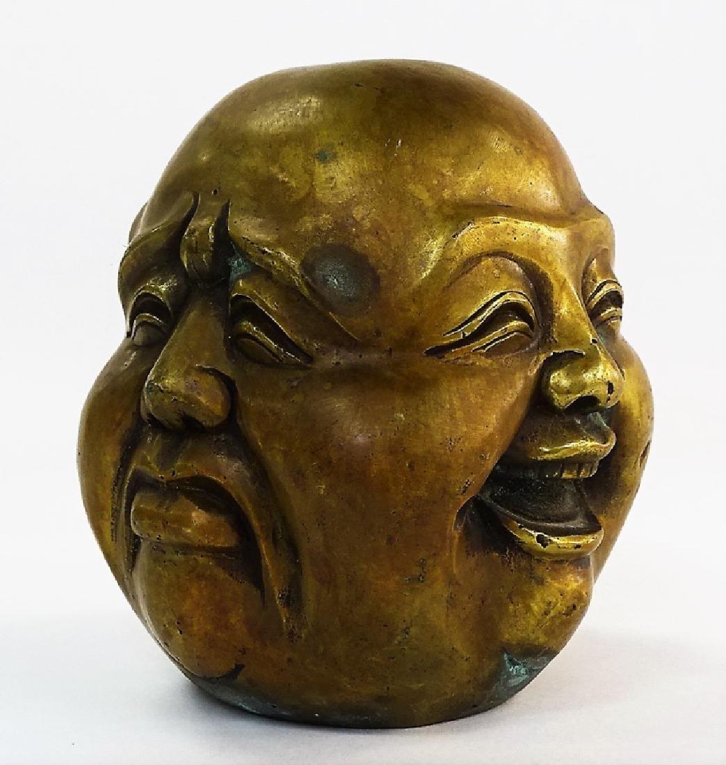 VINTAGE CHINESE BRONZE BUDDHA MOOD STATUE