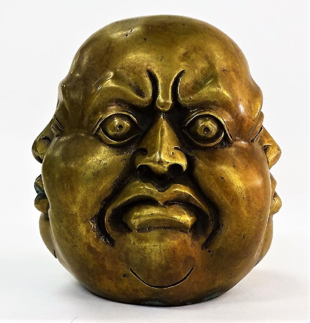 VINTAGE CHINESE BRONZE BUDDHA MOOD STATUE - 4