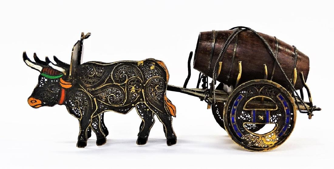 ANTIQUE CHINESE SILVER & ENAMEL FILIGREE OXEN CART