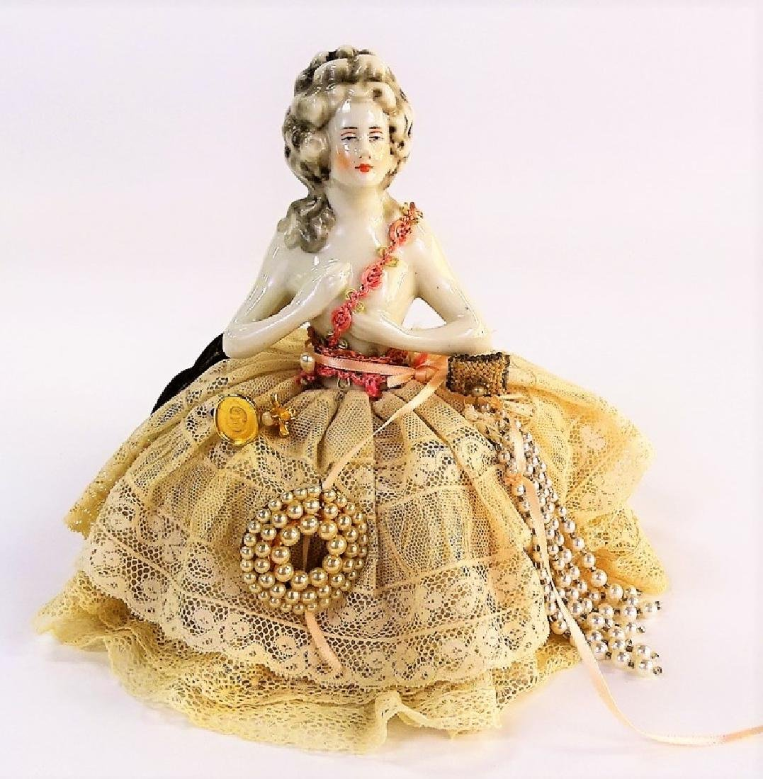 ANTIQUE GERMAN PORCELAIN PIN CUSHION DOLL