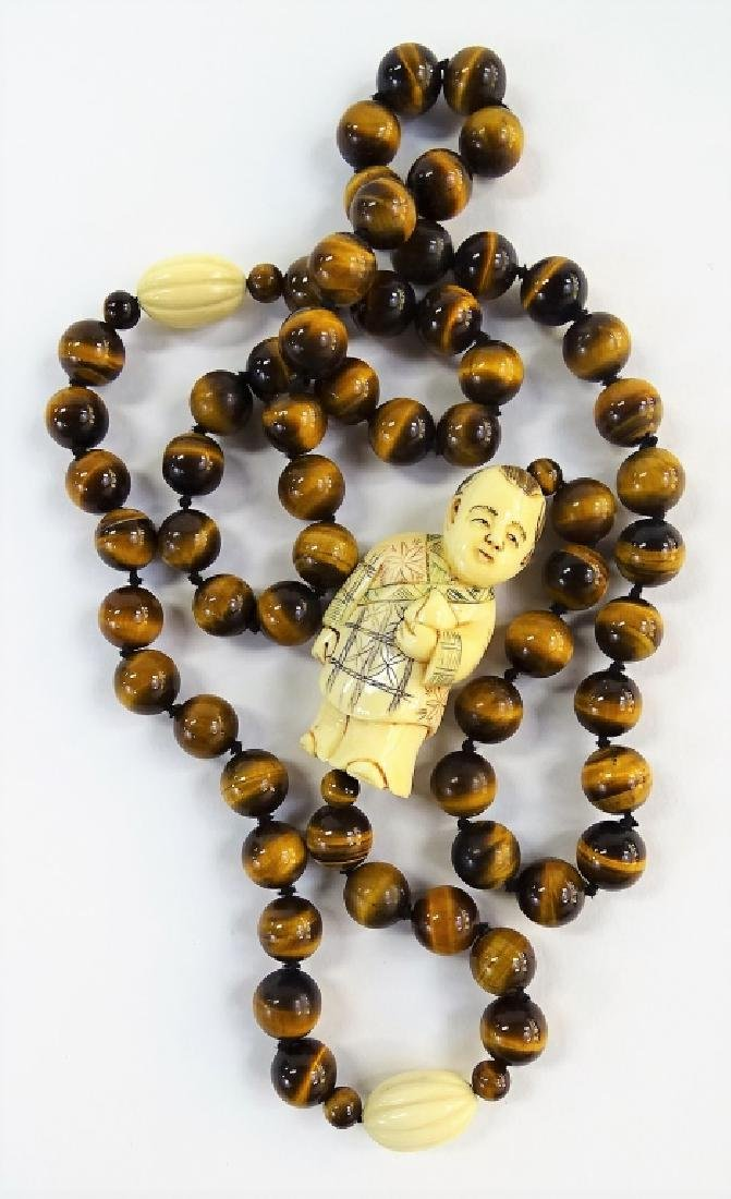 VTG CHINESE CARVED TIGERS EYE BEADED NECKLACE