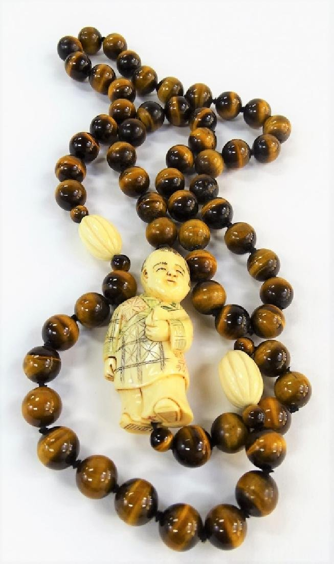 VTG CHINESE CARVED TIGERS EYE BEADED NECKLACE - 4