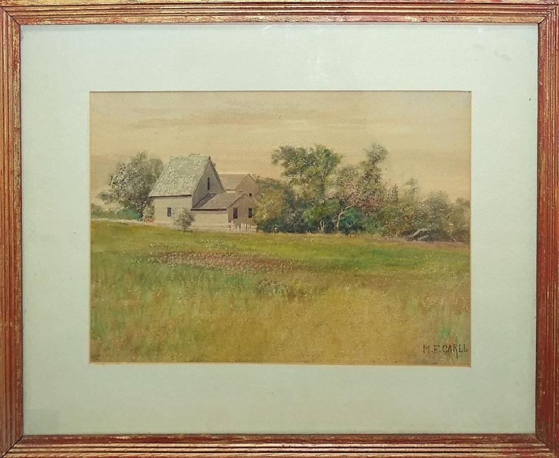 M. FRANK CARLL WATERCOLOR ON PAPER LANDSCAPE PTG