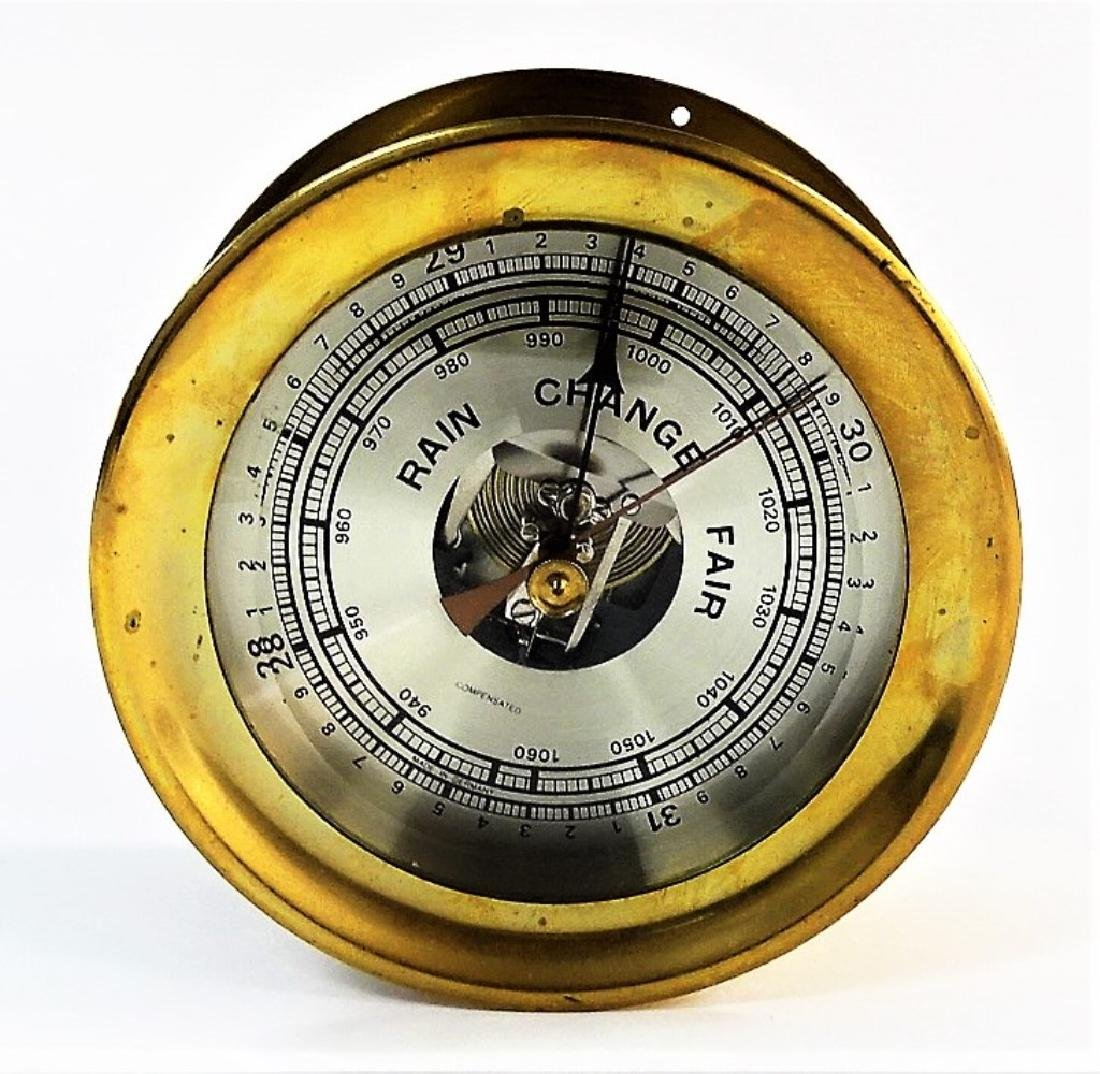 VINTAGE GERMAN BRASS CASE SHIP'S BAROMETER