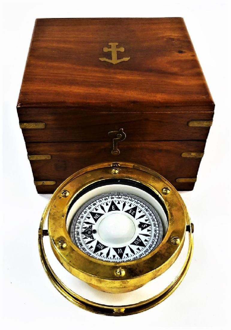 ANTIQUE ENGLISH BRASS SHIP'S COMPASS IN BOX