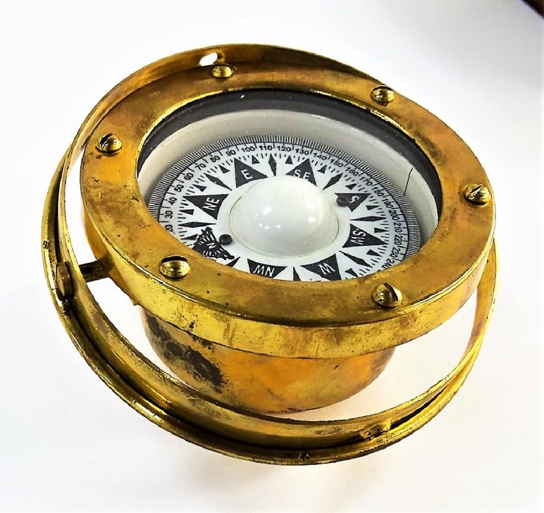 ANTIQUE ENGLISH BRASS SHIP'S COMPASS IN BOX - 2
