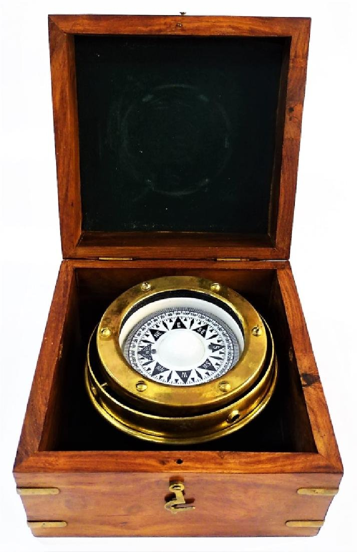 ANTIQUE ENGLISH BRASS SHIP'S COMPASS IN BOX - 4