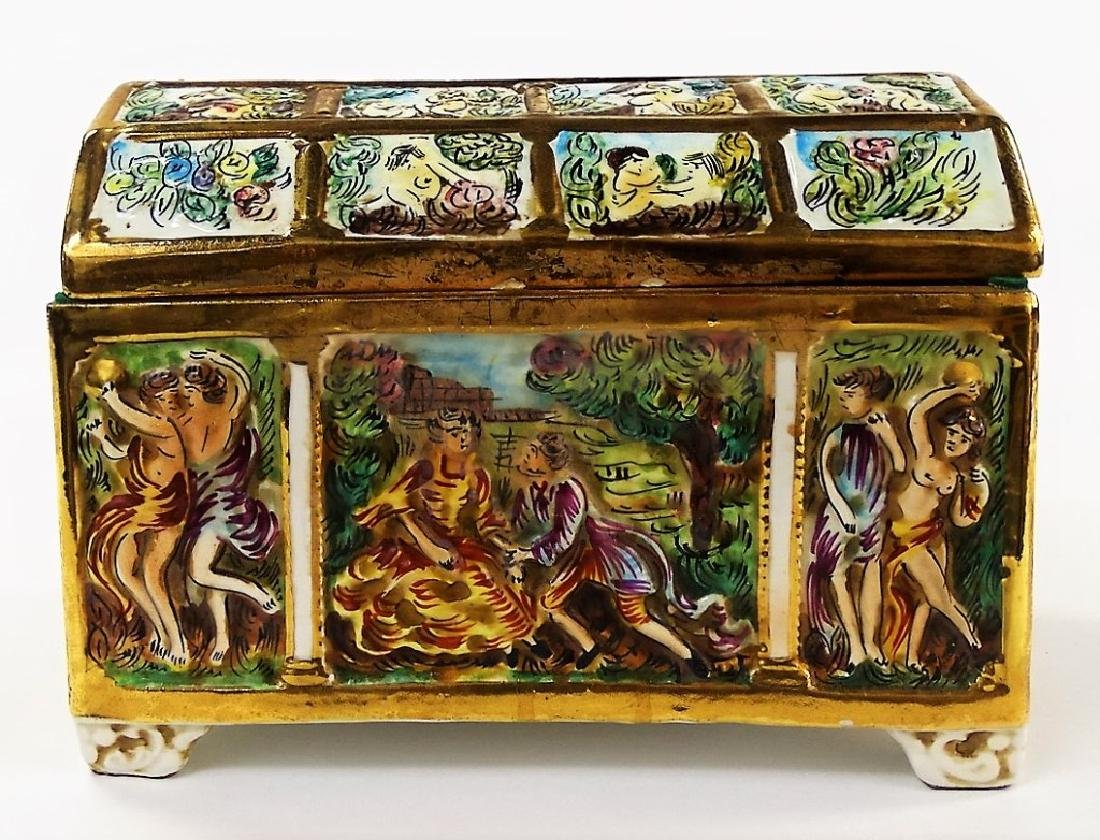 ANTIQUE CAPODIMONTE HAND PAINTED PORCELAIN CHEST