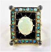 ESTATE 14KT YELLOW GOLD OPAL  DIAMOND LADIES RING
