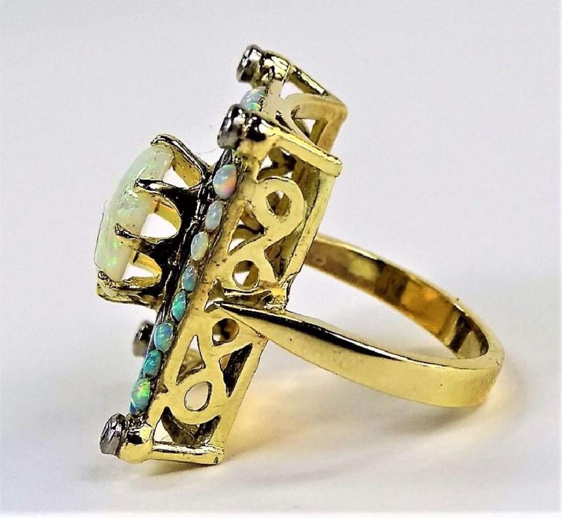 ESTATE 14KT YELLOW GOLD OPAL & DIAMOND LADIES RING - 4