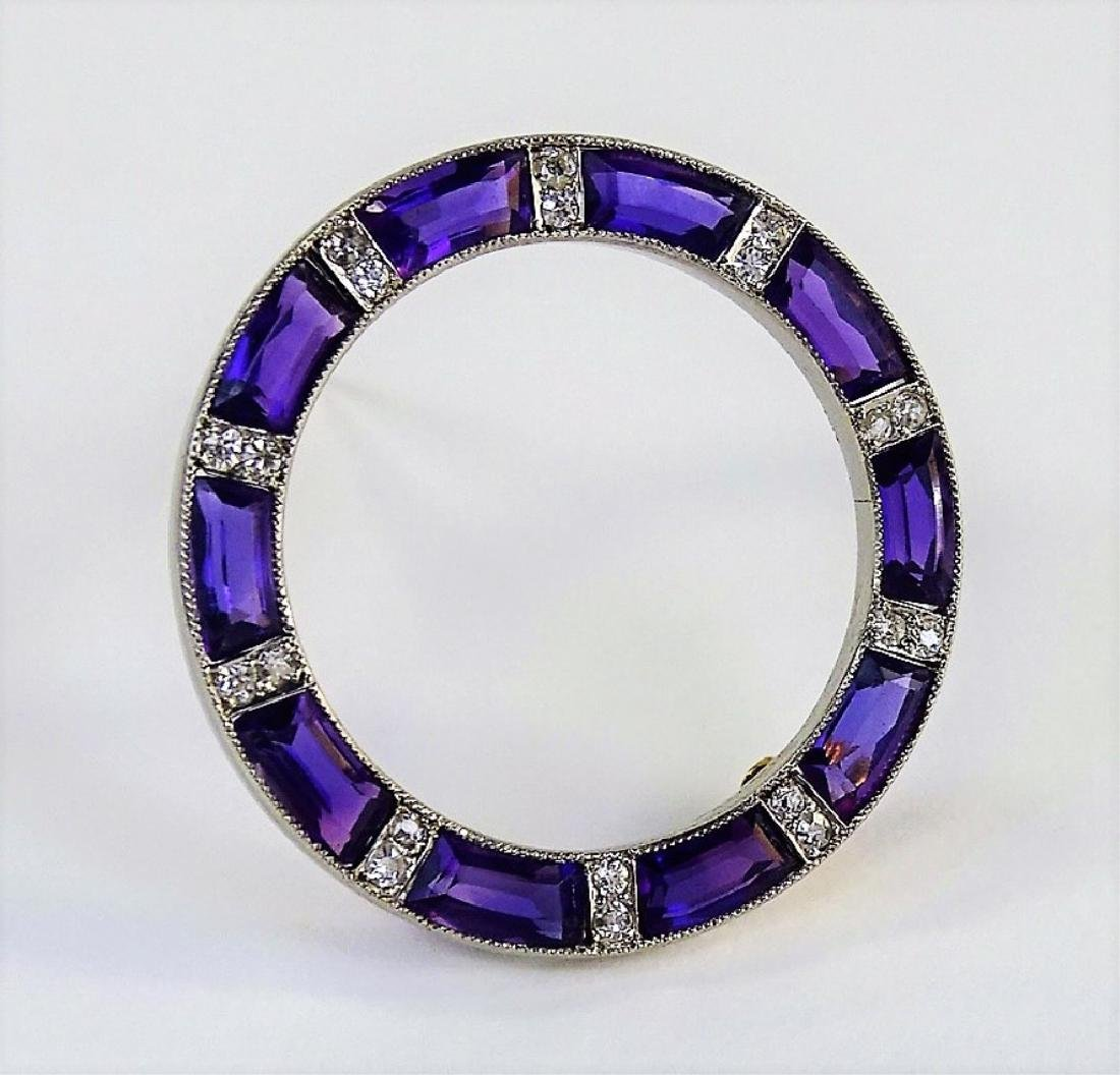 EXQUISITE PLATINUM AMETHYST & DIAMOND BROOCH