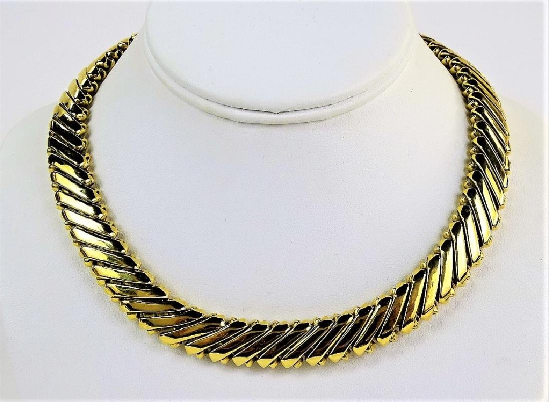 HEAVY 18KT YELLOW GOLD COLLAR LINK NECKLACE