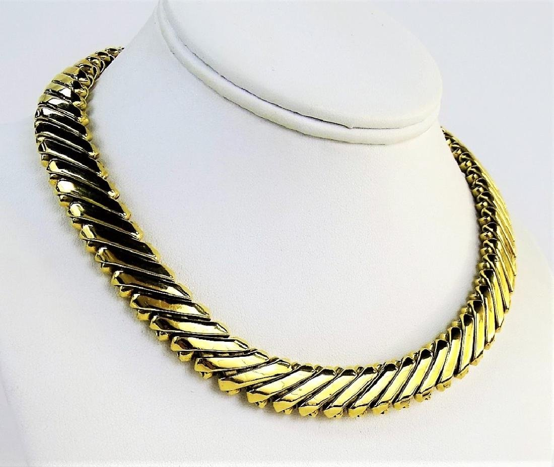 HEAVY 18KT YELLOW GOLD COLLAR LINK NECKLACE - 2