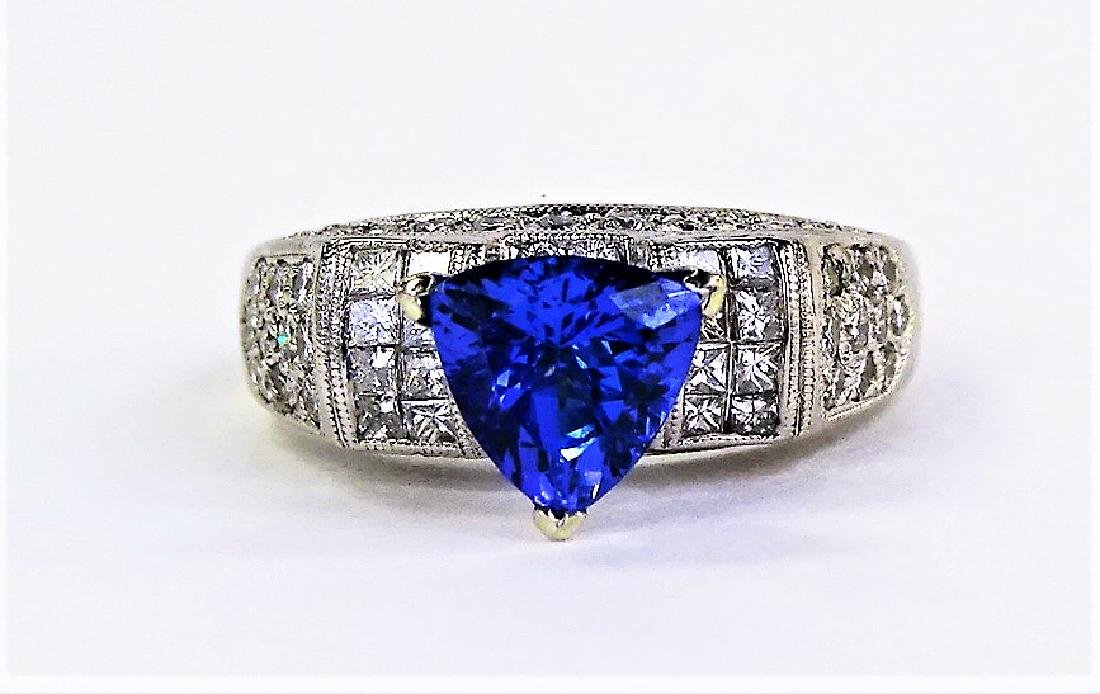 INCREDIBLE PLATINUM DIAMOND TANZANITE ESTATE RING