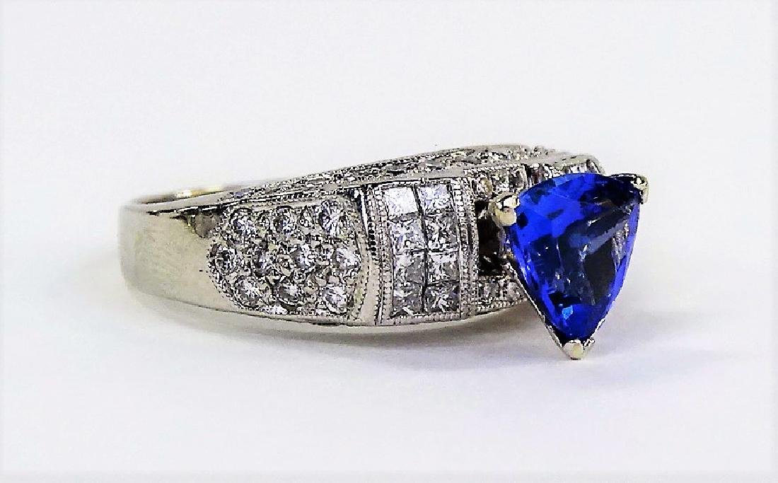 INCREDIBLE PLATINUM DIAMOND TANZANITE ESTATE RING - 2