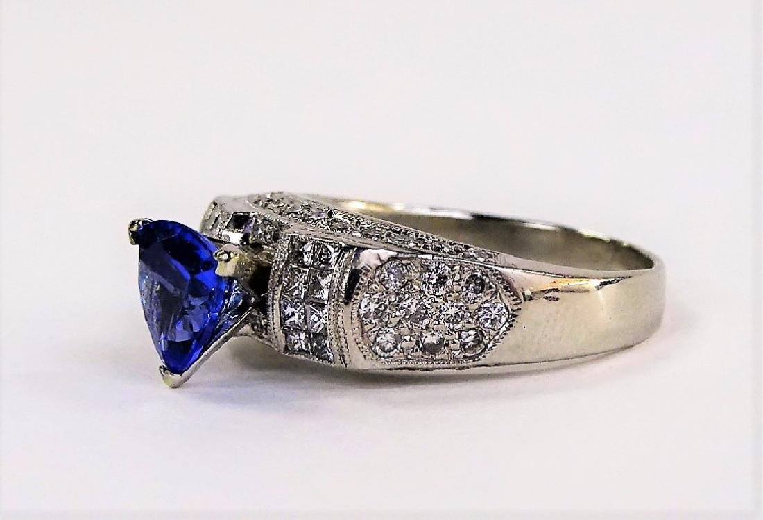 INCREDIBLE PLATINUM DIAMOND TANZANITE ESTATE RING - 3