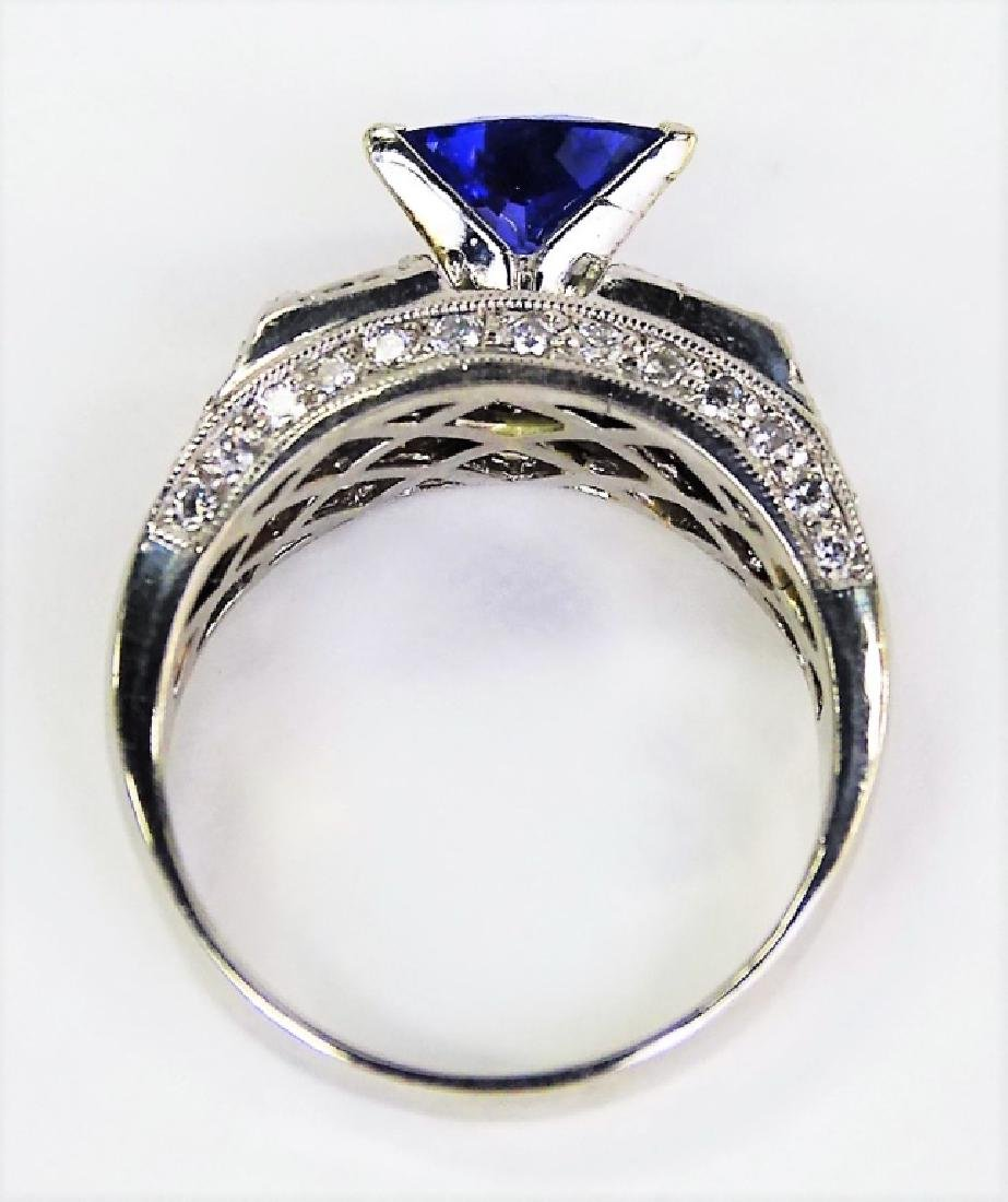 INCREDIBLE PLATINUM DIAMOND TANZANITE ESTATE RING - 4