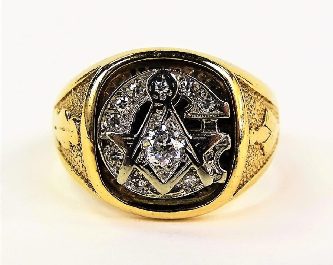 ESTATE 10K GOLD & .70CT DIAMOND MASONIC RING
