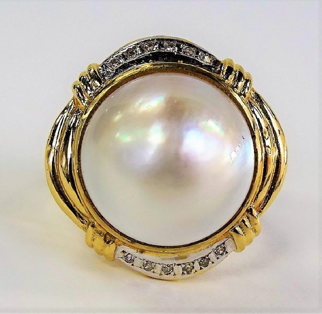 LADIES RETRO 14KT YG MABE PEARL & DIAMOND RING