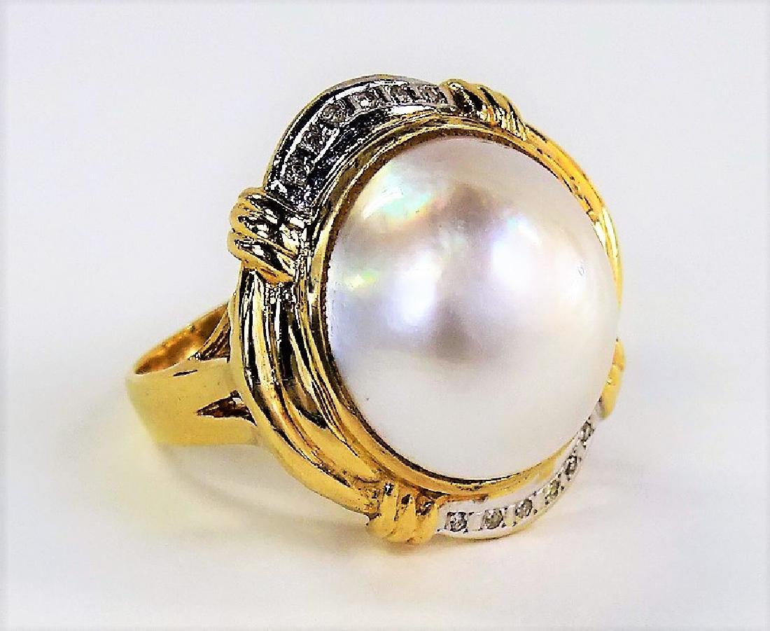 LADIES RETRO 14KT YG MABE PEARL & DIAMOND RING - 2