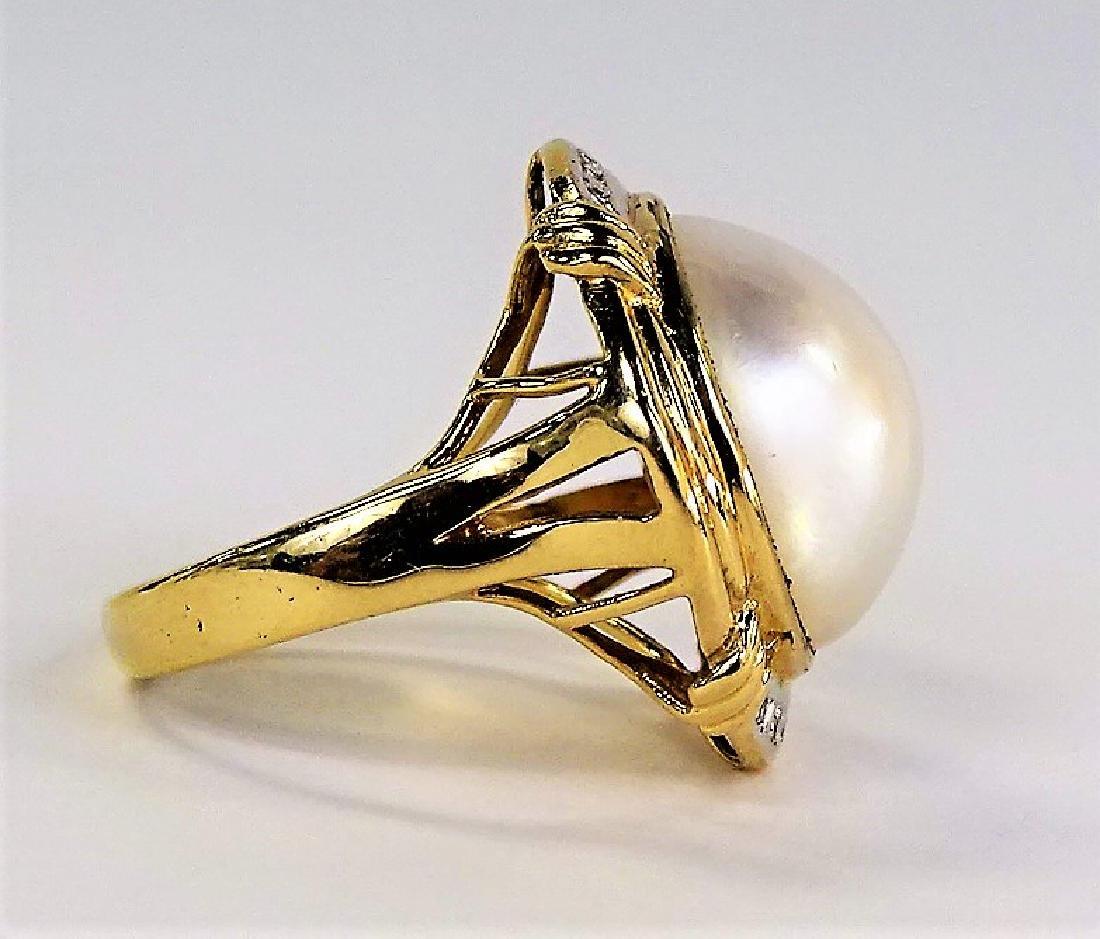 LADIES RETRO 14KT YG MABE PEARL & DIAMOND RING - 3