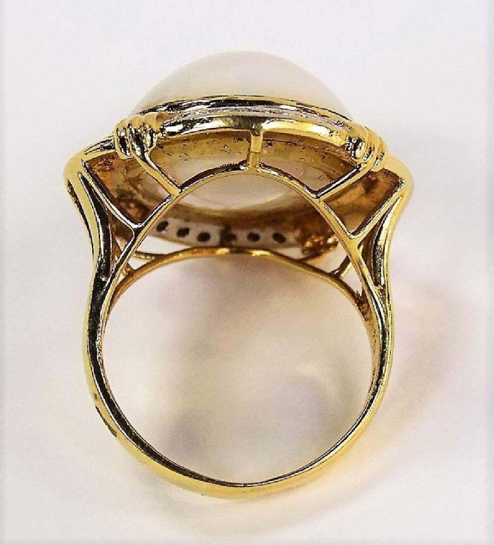 LADIES RETRO 14KT YG MABE PEARL & DIAMOND RING - 4