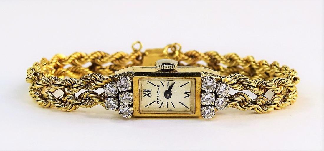 VINTAGE GENEVE 14KT GOLD & 1.25CTW DIAMOND WATCH