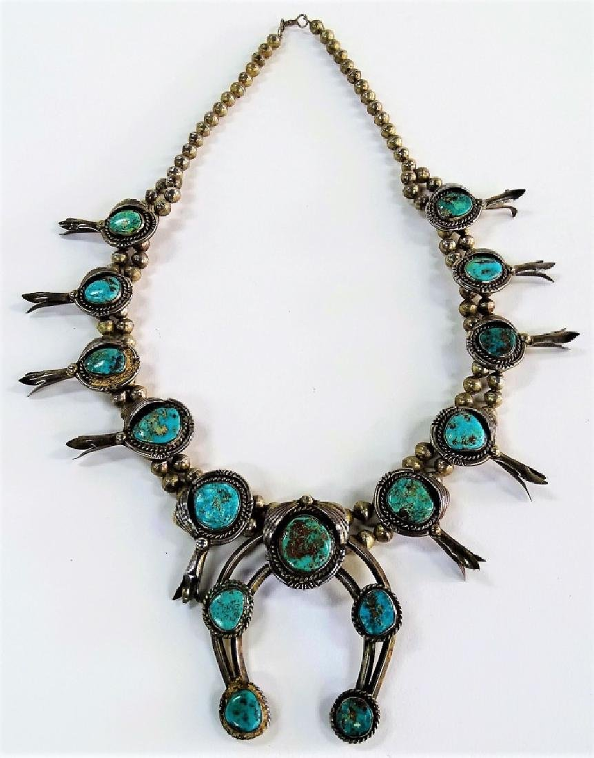 OLD PAWN STERLING SILVER SQUASH BLOSSOM NECKLACE