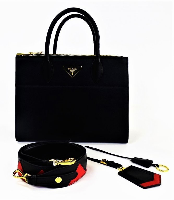 PRADA PARADIGME SAFFIANO LEATHER BAG NERO/FUOCO