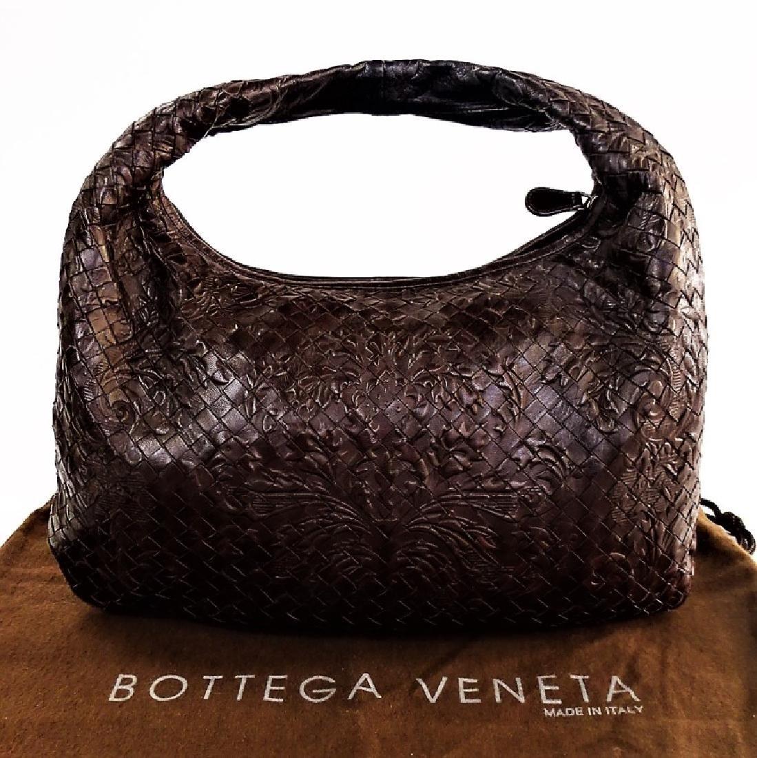 BOTTEGA VENETA EMBOSSED BROWN LEATHER TOTE BAG