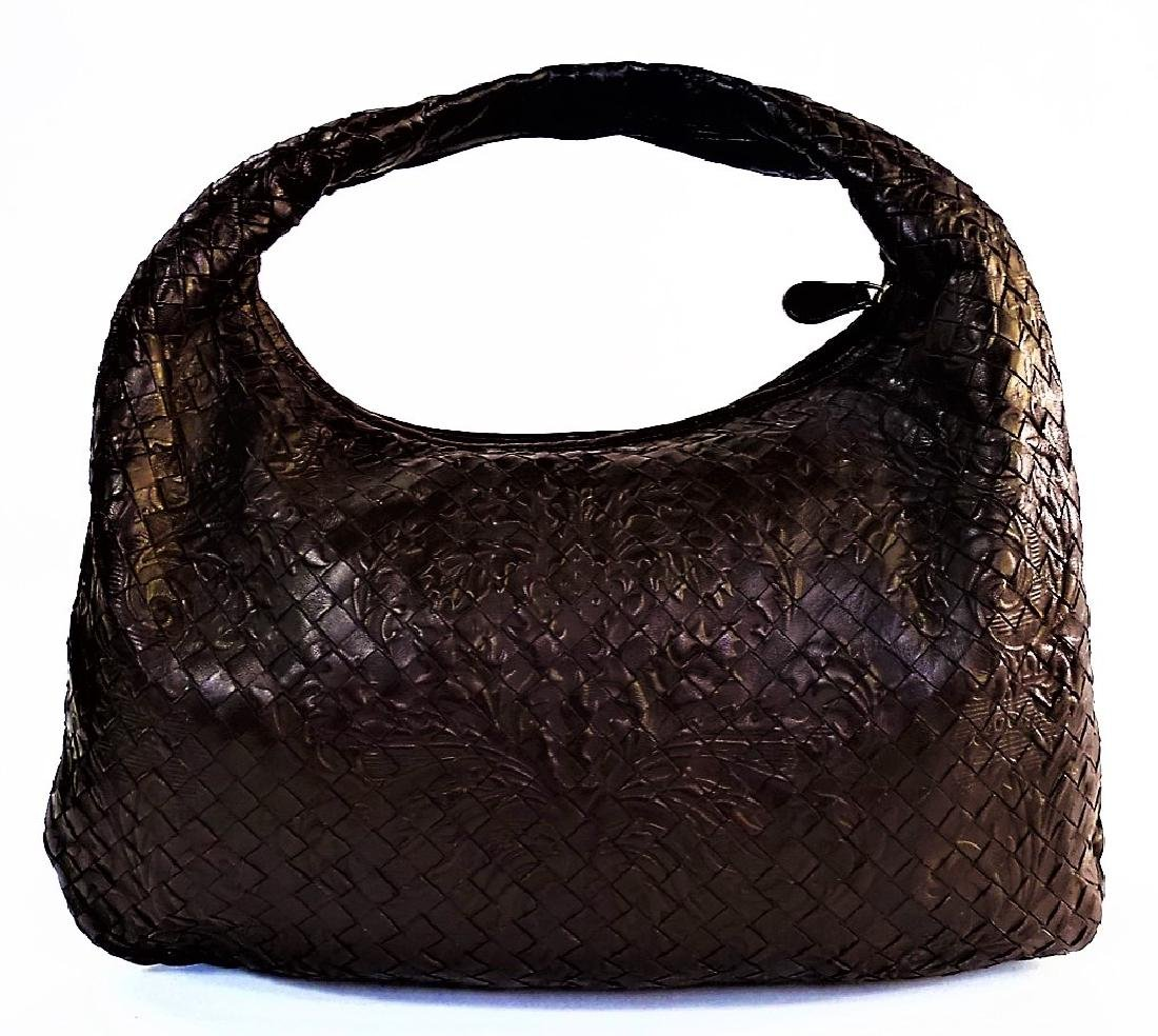 BOTTEGA VENETA EMBOSSED BROWN LEATHER TOTE BAG - 2