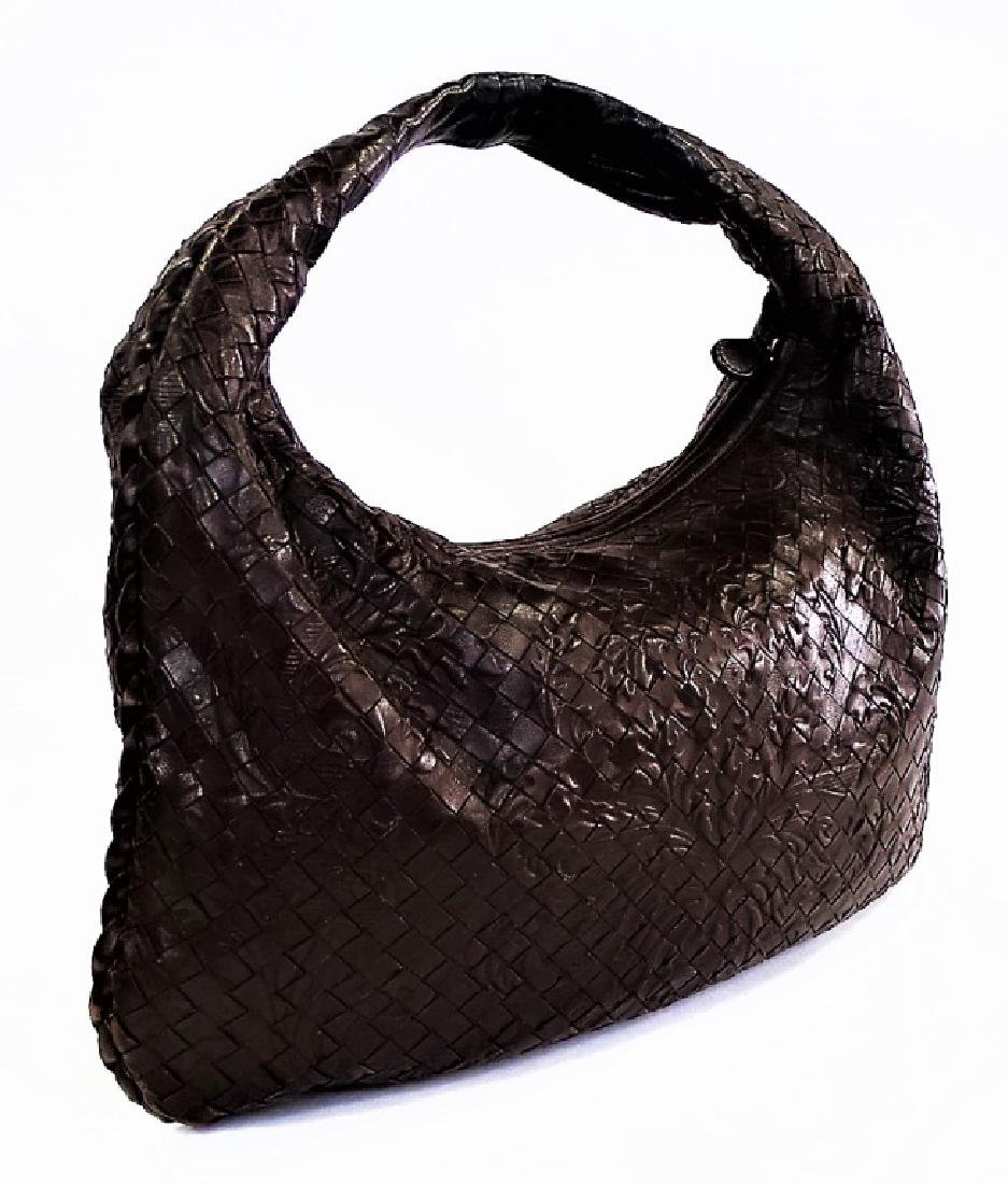 BOTTEGA VENETA EMBOSSED BROWN LEATHER TOTE BAG - 4