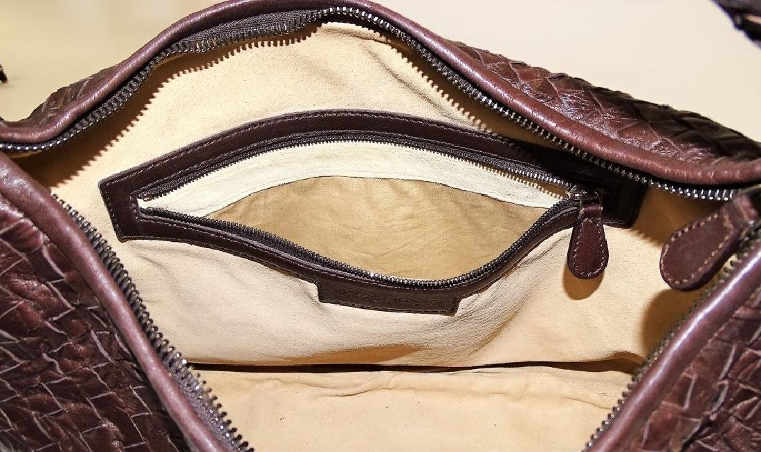 BOTTEGA VENETA EMBOSSED BROWN LEATHER TOTE BAG - 7