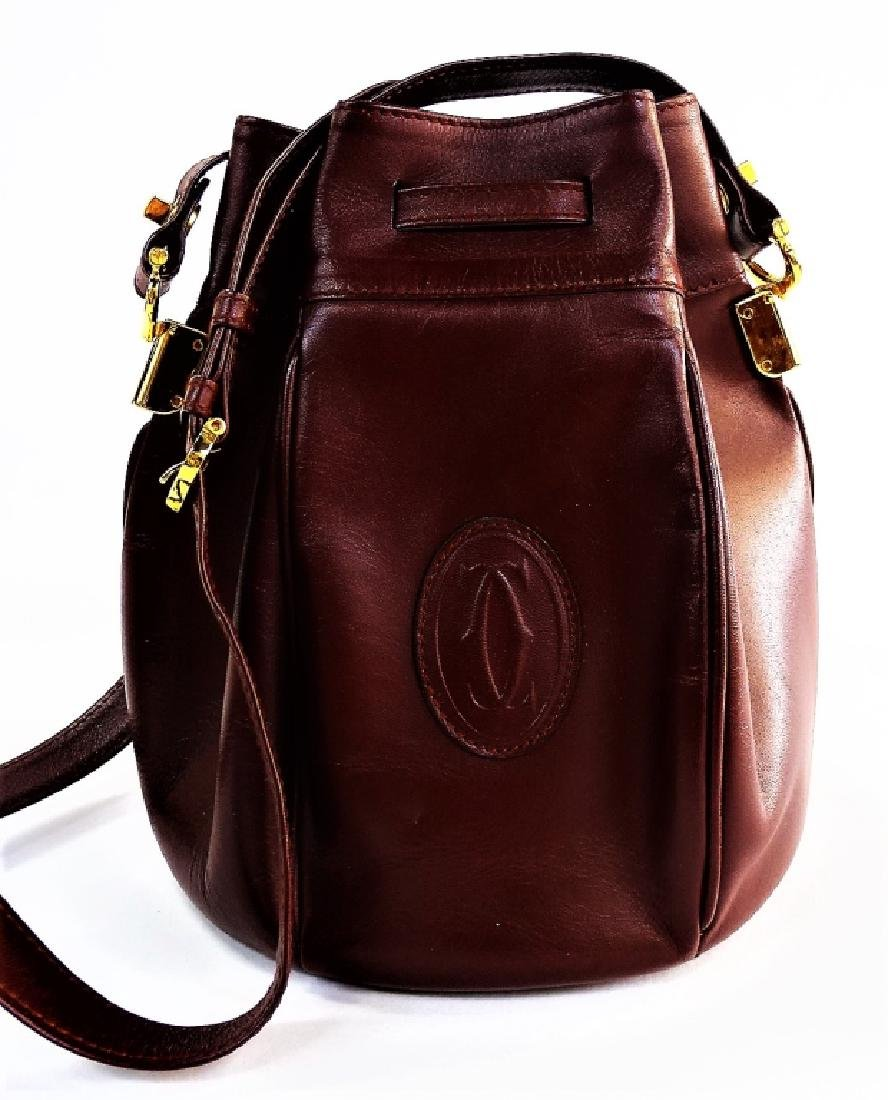 CARTIER BURGUNDY LEATHER DRAWSTRING BUCKET BAG - 2