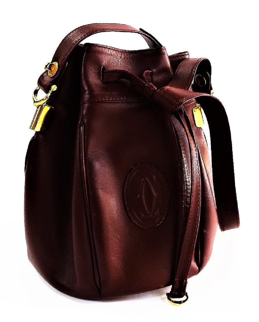 CARTIER BURGUNDY LEATHER DRAWSTRING BUCKET BAG - 3