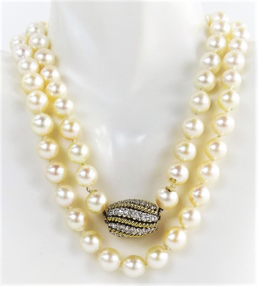 LADIES EXTRAVAGANT 18KT GOLD BEADED PEARL NECKLACE