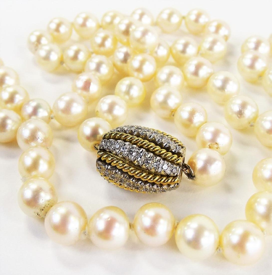 LADIES EXTRAVAGANT 18KT GOLD BEADED PEARL NECKLACE - 3