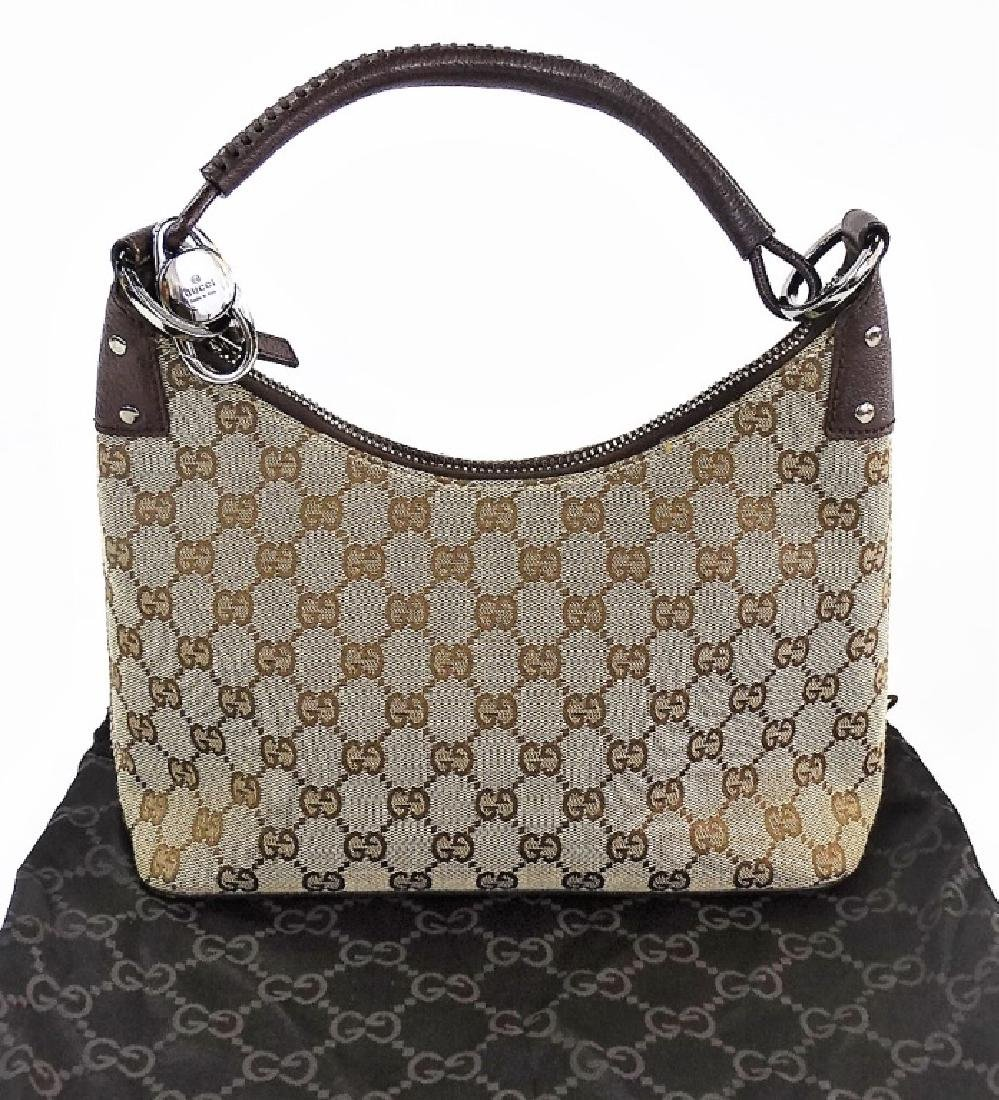 VINTAGE GUCCI MONOGRAM CANVAS HANDBAG