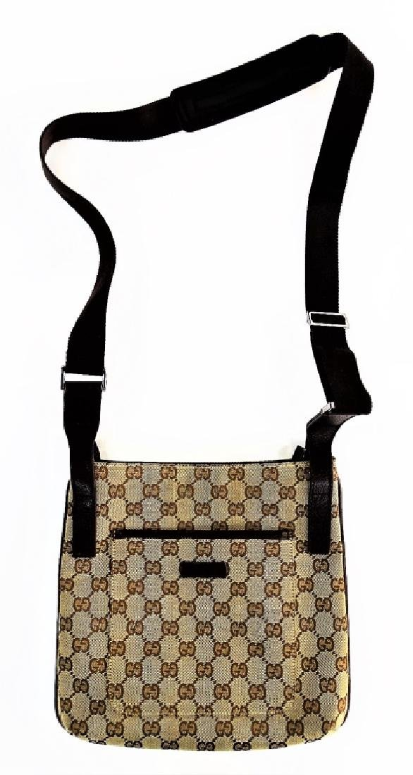 VINTAGE GUCCI MONOGRAM CANVAS CROSSBODY BAG