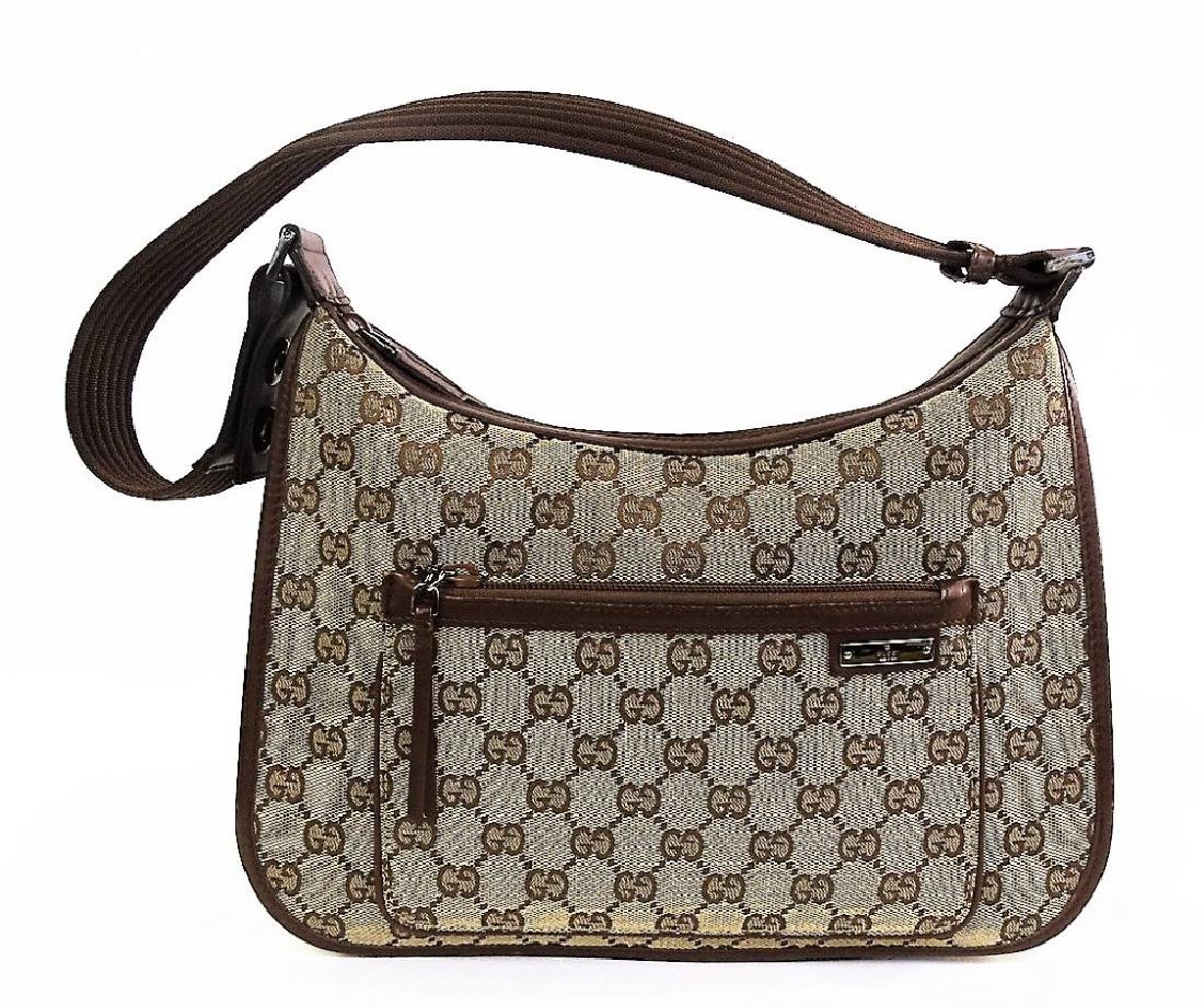 VINTAGE GUCCI MONOGRAM CANVAS SHOULDER BAG