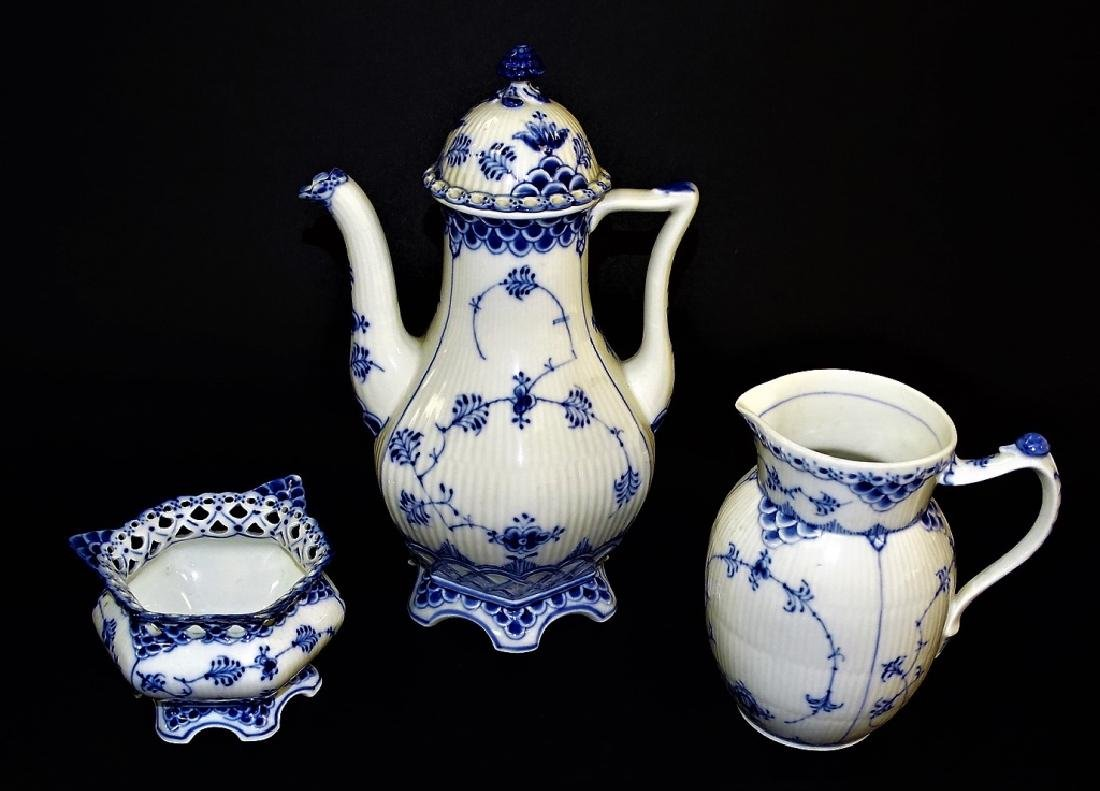 3PCS ROYAL COPENHAGEN BLUE & WHITE COFFEE SERVICE
